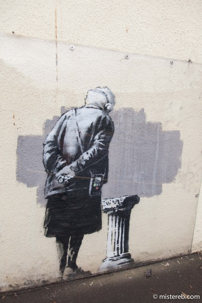 Now you see it... possibly the last ever shot of this Banksy in situ
